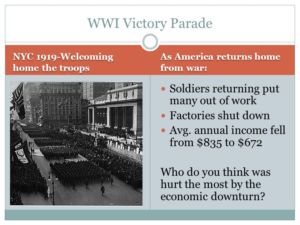 WWI Victory Parade Soldiers returning put many out of work
