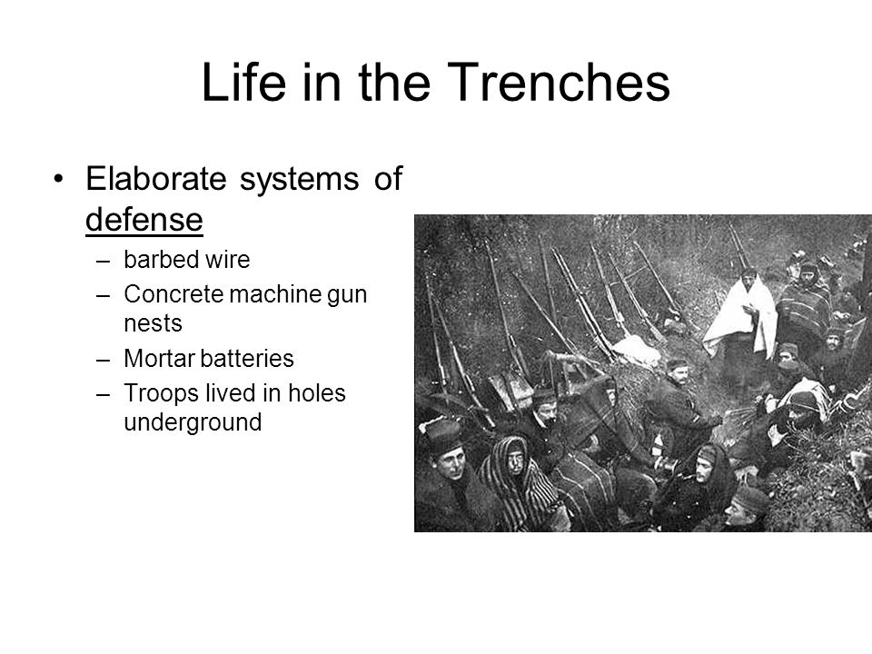 Life in the Trenches Elaborate systems of defense barbed wire