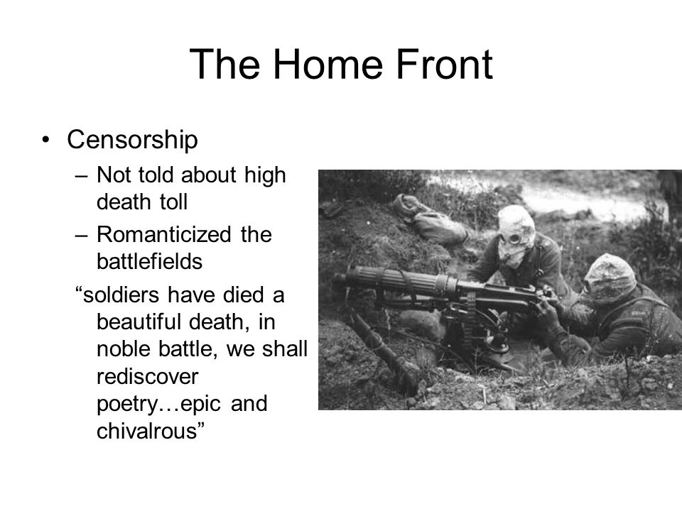 The Home Front Censorship Not told about high death toll