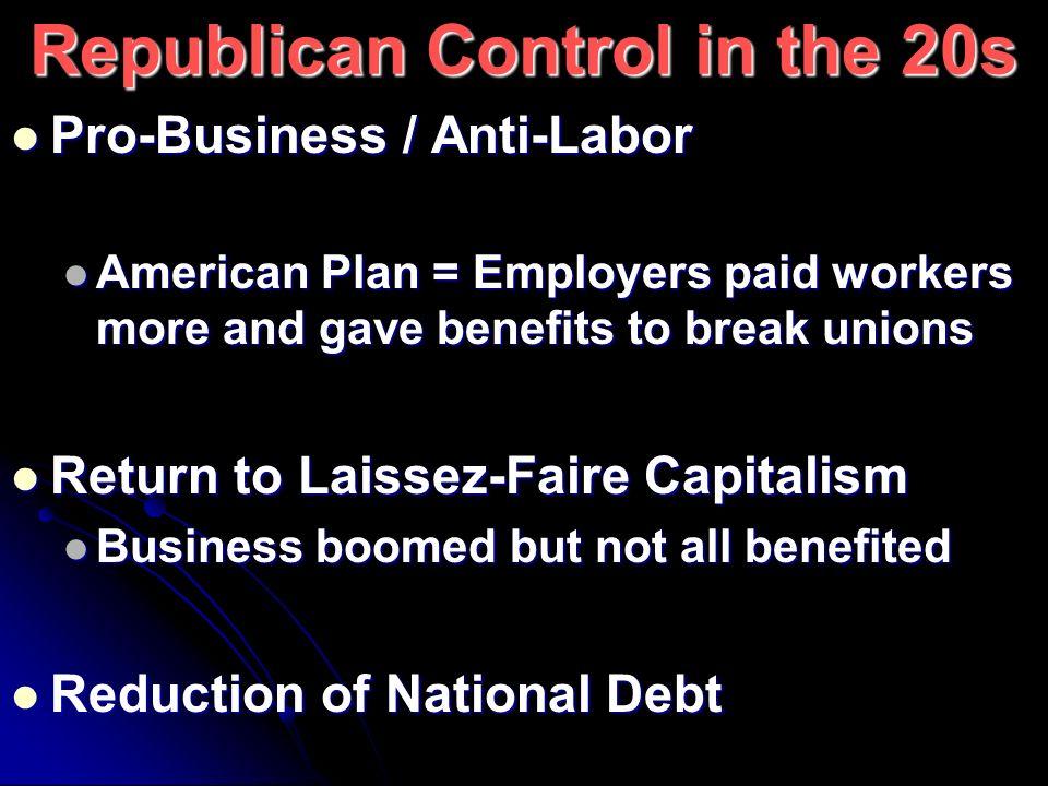 Republican Control in the 20s