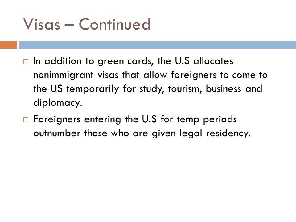 Visas – Continued