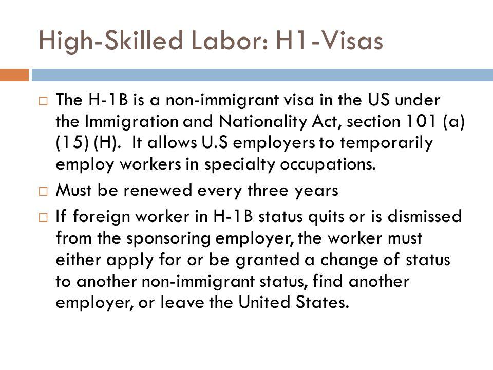 High-Skilled Labor: H1-Visas