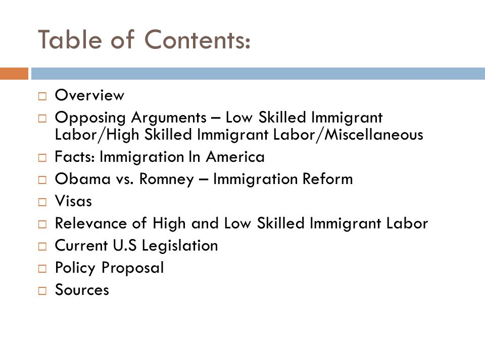 Table of Contents: Overview