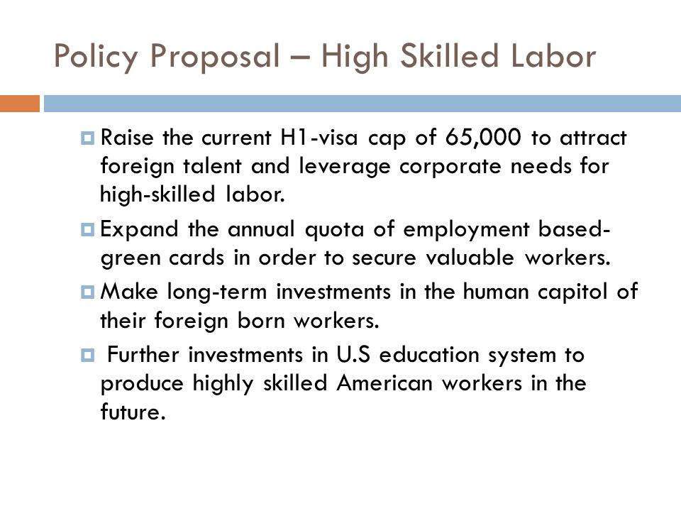 Policy Proposal – High Skilled Labor