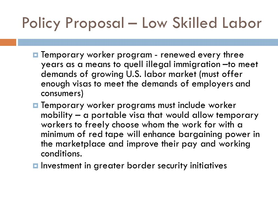 Policy Proposal – Low Skilled Labor