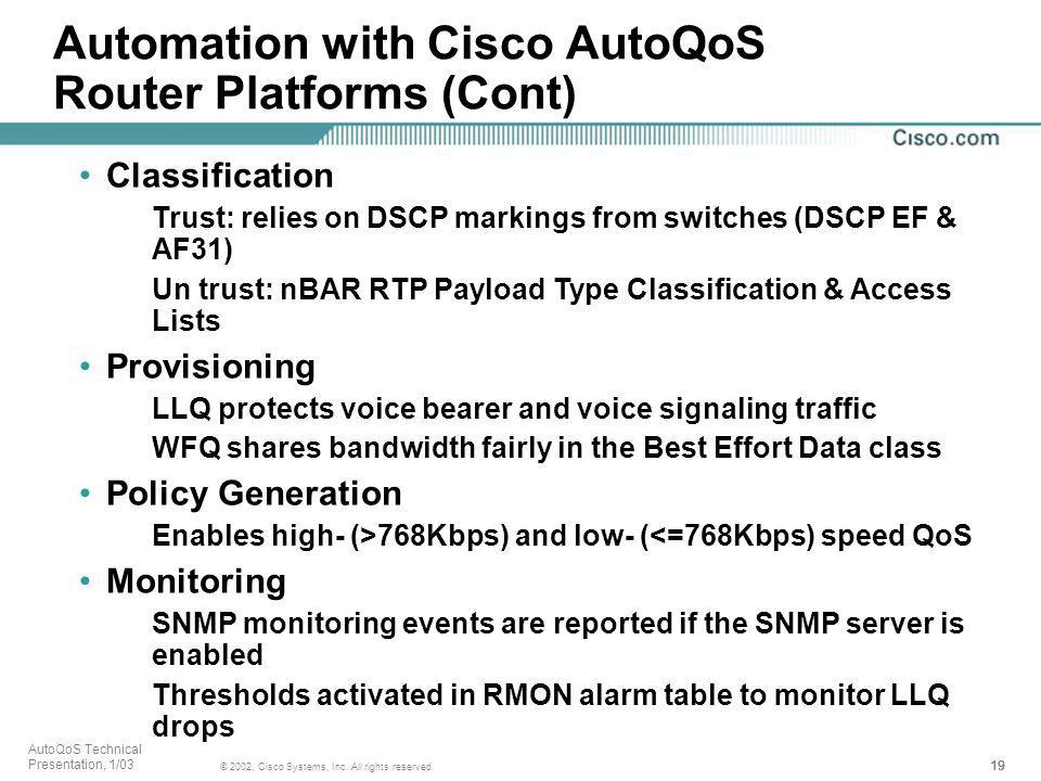 Automation with Cisco AutoQoS Router Platforms (Cont)
