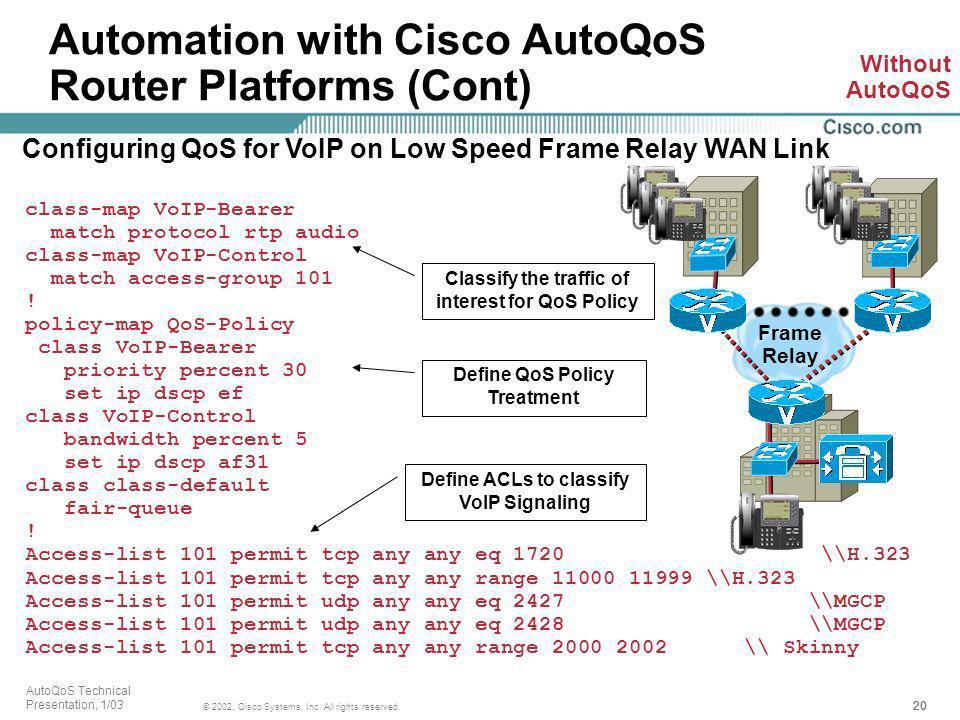 Automation with Cisco AutoQoS Router Platforms (Cont)