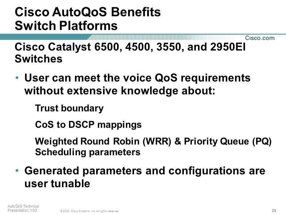 Cisco AutoQoS Benefits Switch Platforms