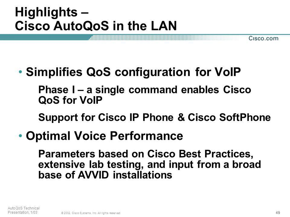Highlights – Cisco AutoQoS in the LAN
