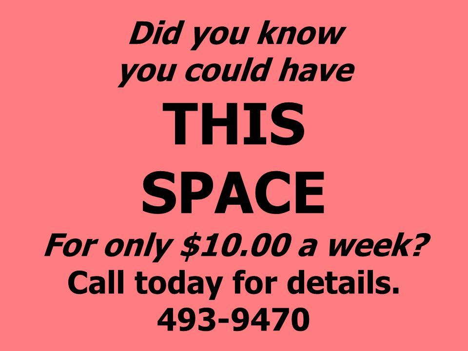Did you know you could have THIS SPACE For only $ a week