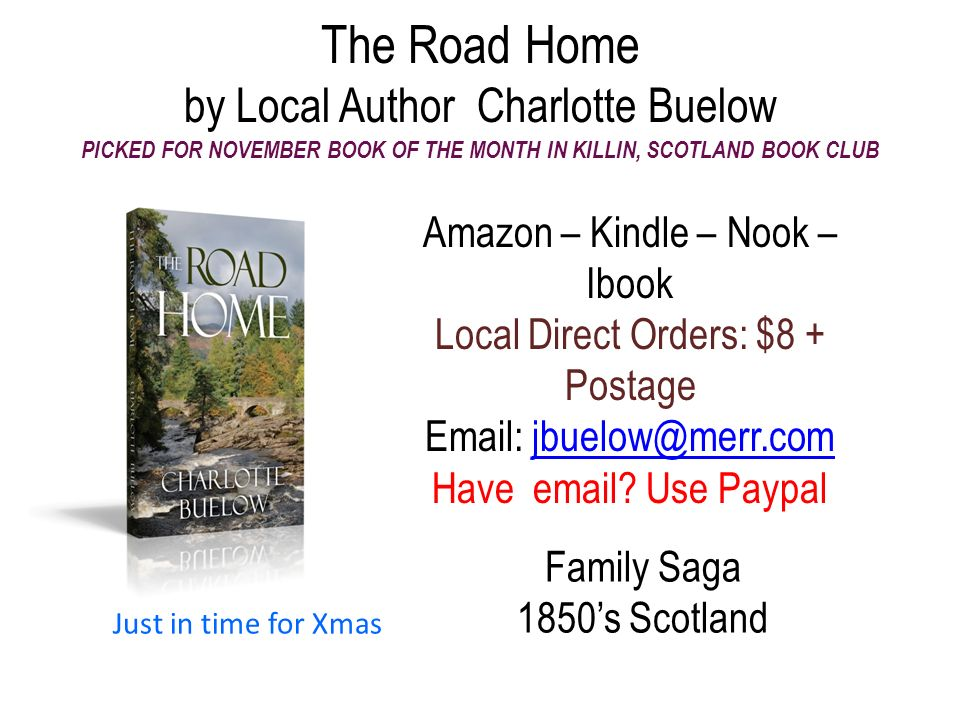 The Road Home by Local Author Charlotte Buelow PICKED FOR NOVEMBER BOOK OF THE MONTH IN KILLIN, SCOTLAND BOOK CLUB