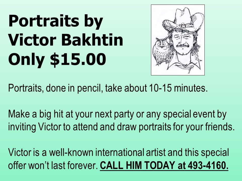 Portraits by Victor Bakhtin Only $15