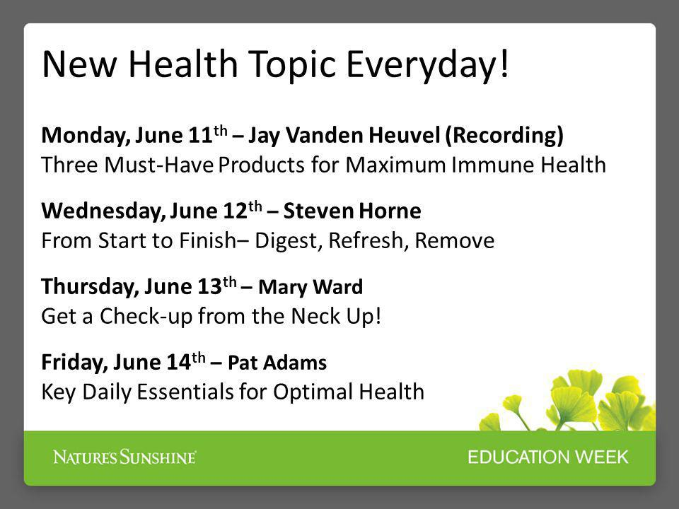 New Health Topic Everyday!