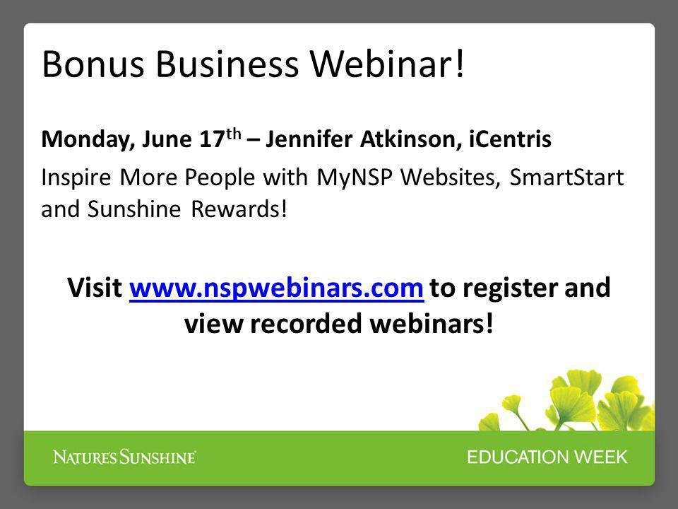 Bonus Business Webinar!