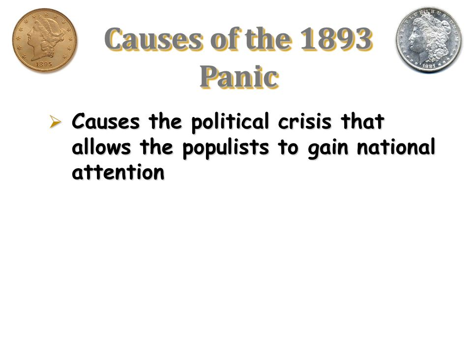 Causes of the 1893 Panic Causes the political crisis that allows the populists to gain national attention.