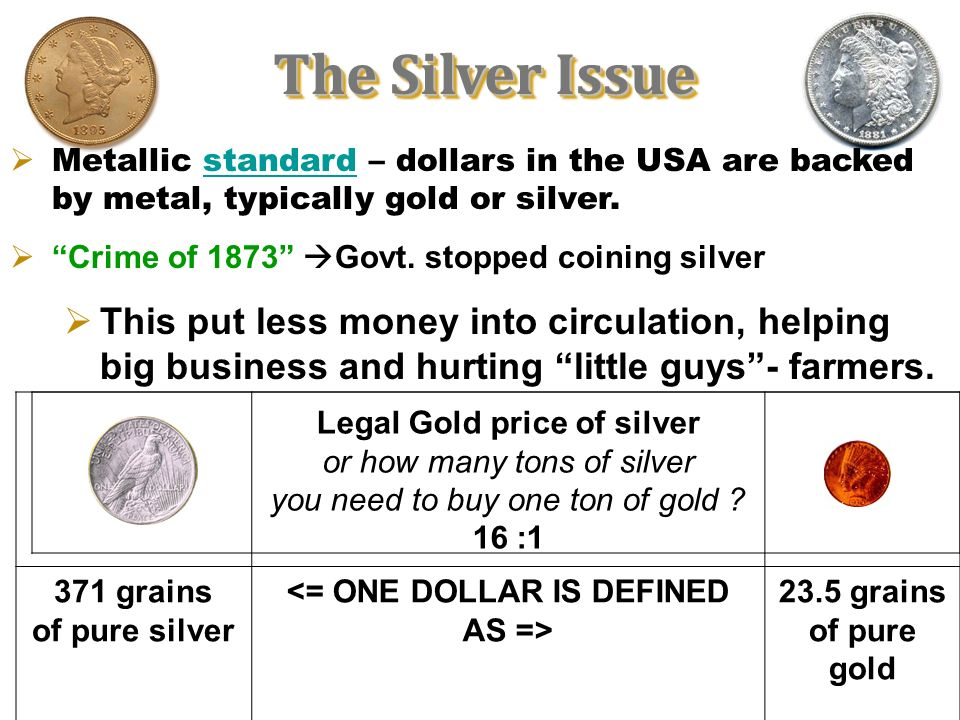 <= ONE DOLLAR IS DEFINED AS =>