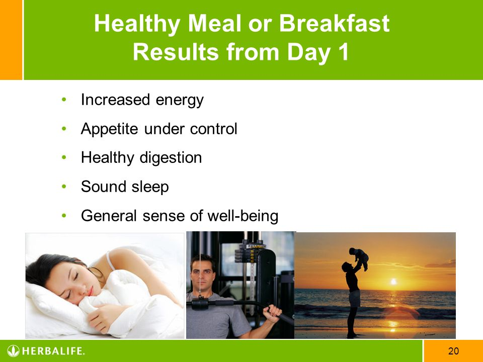 Healthy Meal or Breakfast Results from Day 1