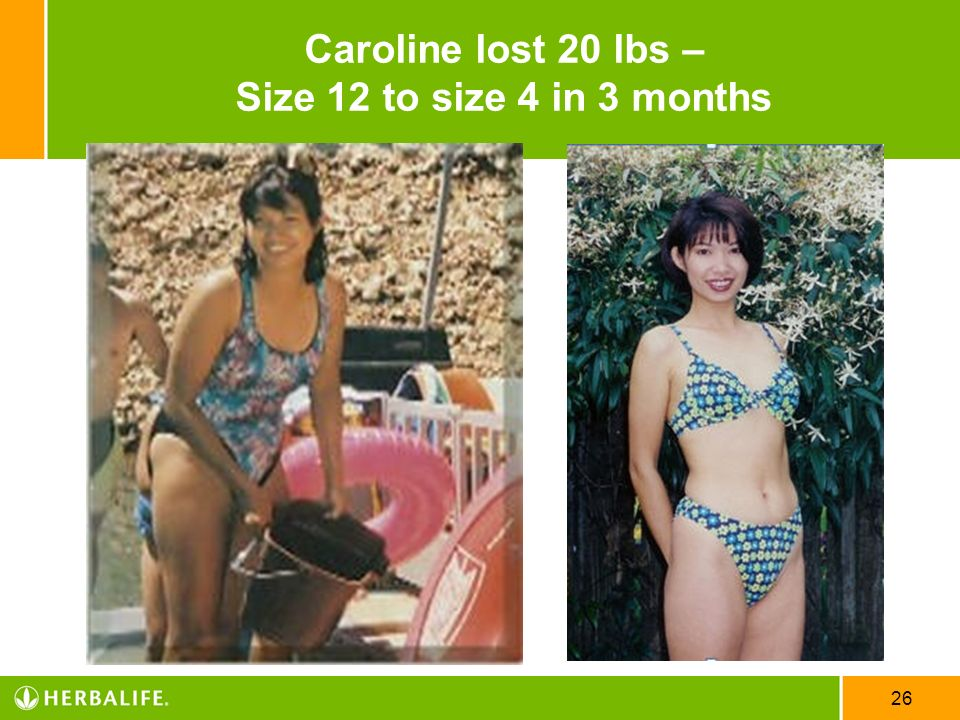 Caroline lost 20 lbs – Size 12 to size 4 in 3 months