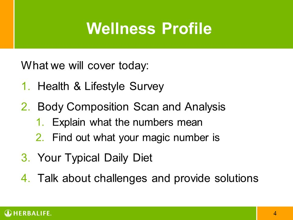Wellness Profile What we will cover today: Health & Lifestyle Survey