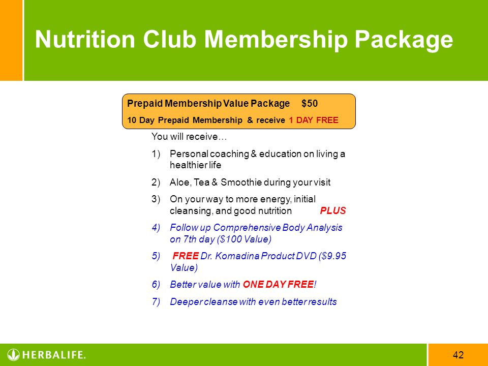 Nutrition Club Membership Package