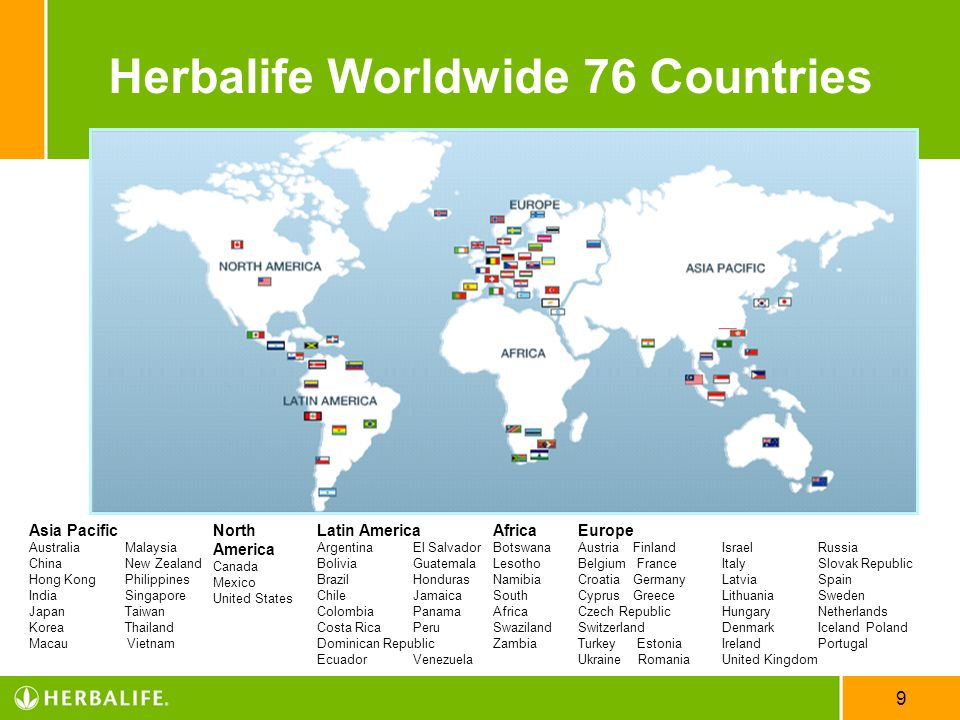 Herbalife Worldwide 76 Countries