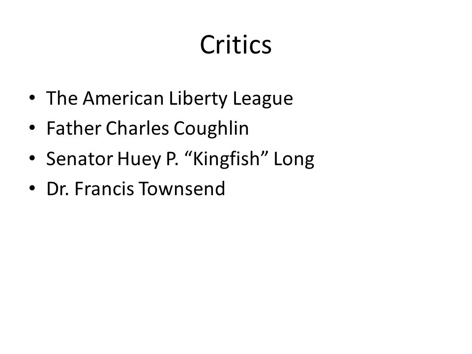 Critics The American Liberty League Father Charles Coughlin