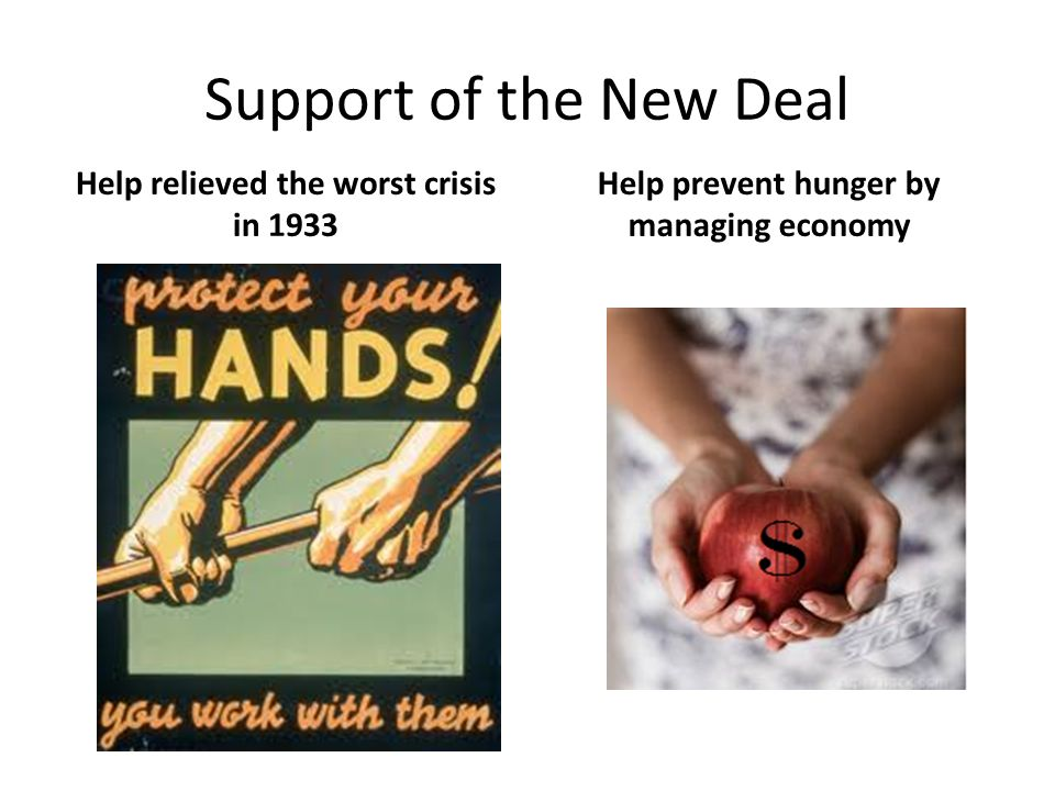 Support of the New Deal Help relieved the worst crisis in 1933
