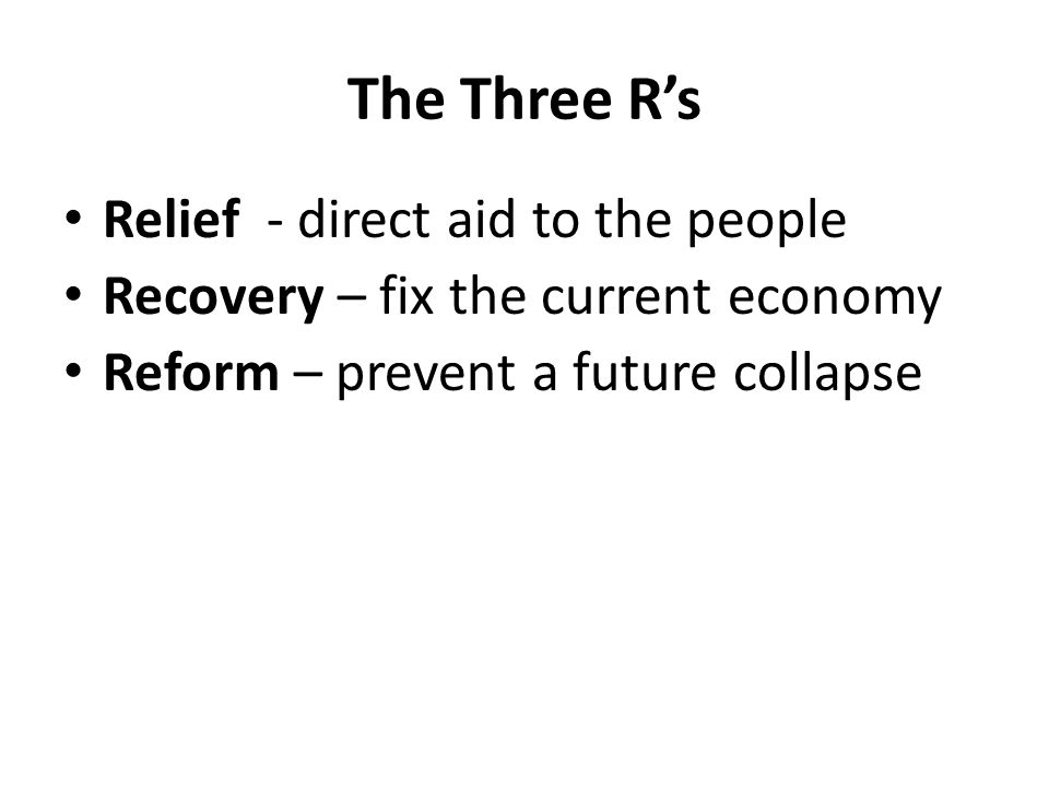 The Three R's Relief - direct aid to the people