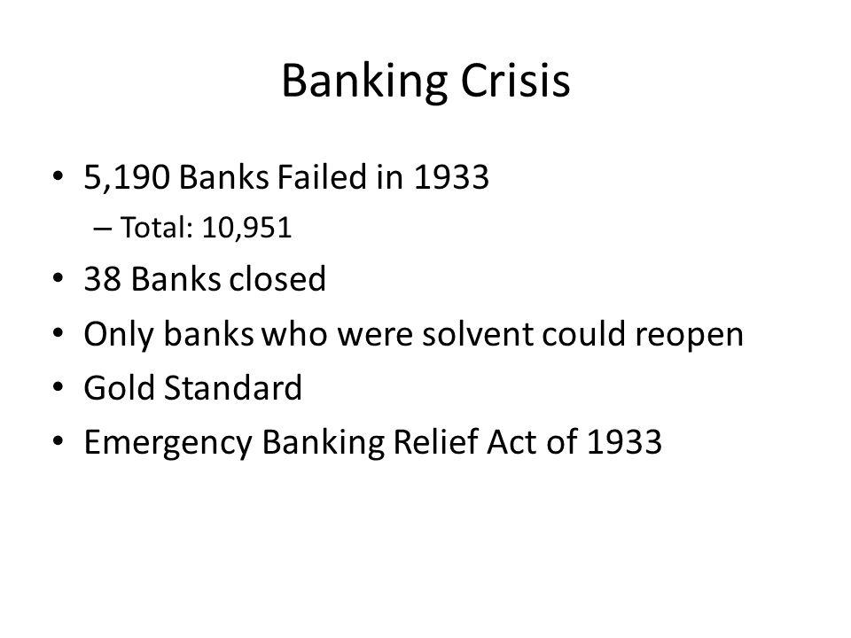 Banking Crisis 5,190 Banks Failed in 1933 38 Banks closed
