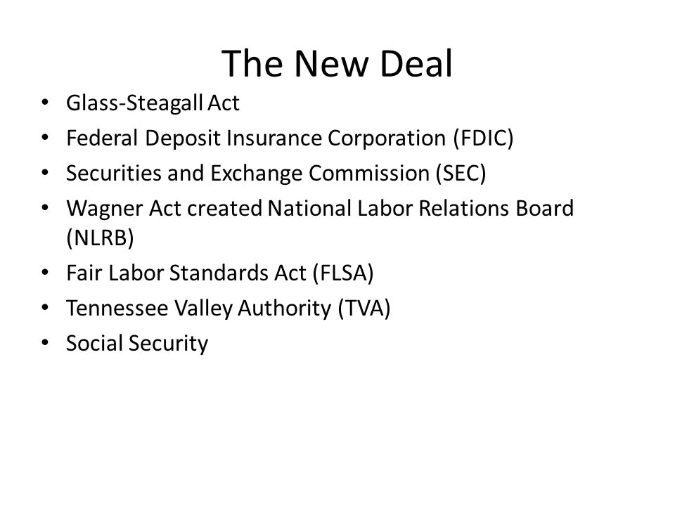 The New Deal Glass-Steagall Act