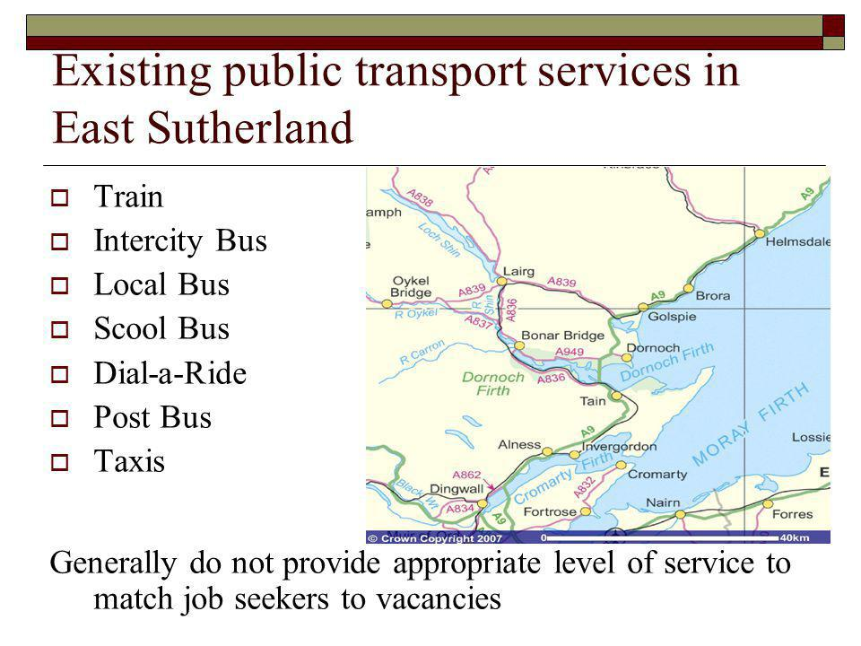 Existing public transport services in East Sutherland