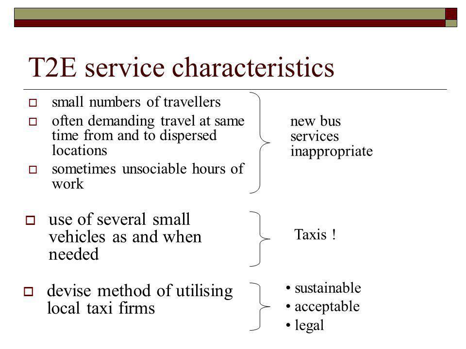 T2E service characteristics