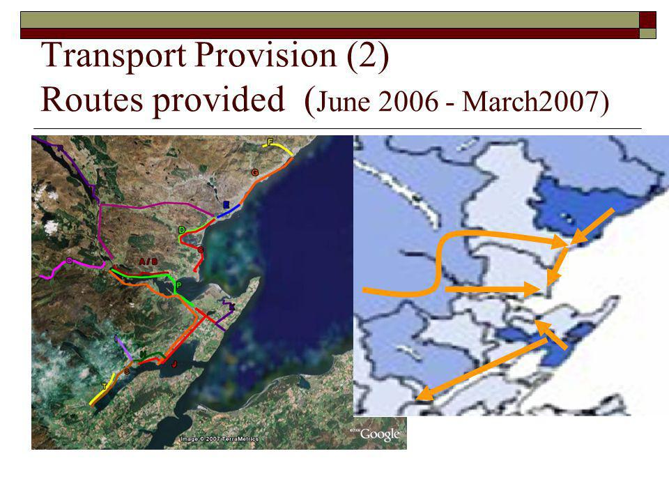 Transport Provision (2) Routes provided (June 2006 - March2007)