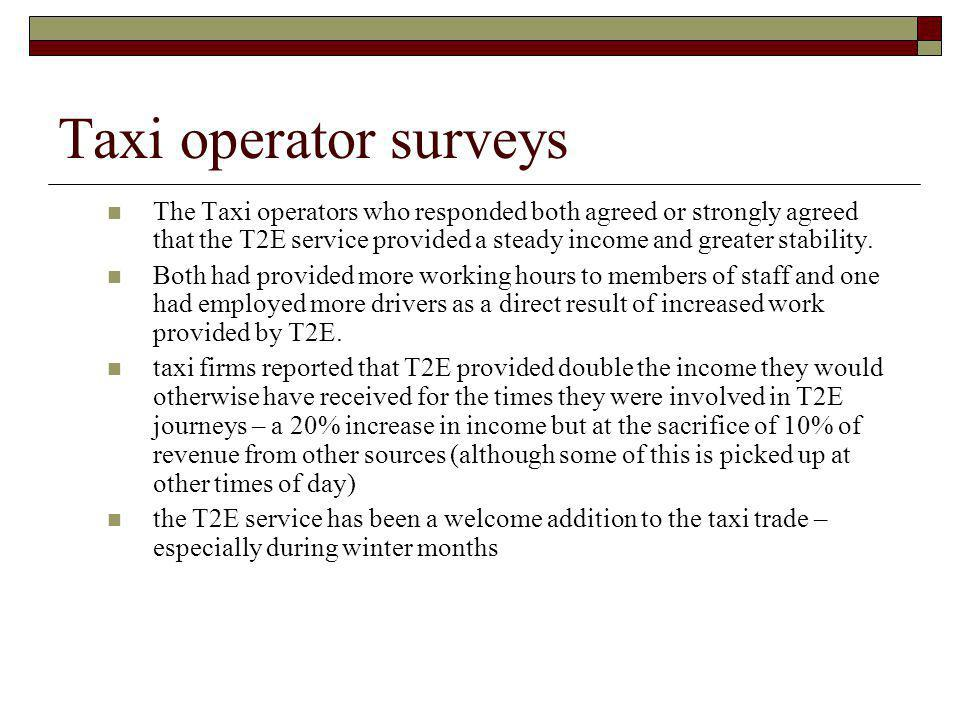Taxi operator surveys