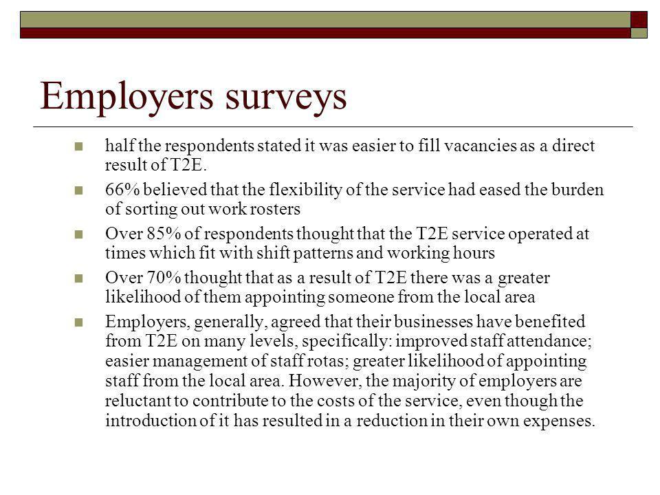 Employers surveys half the respondents stated it was easier to fill vacancies as a direct result of T2E.