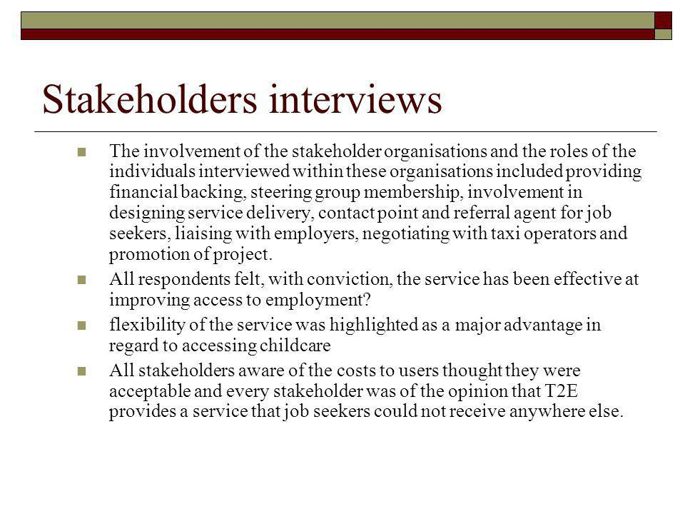 Stakeholders interviews