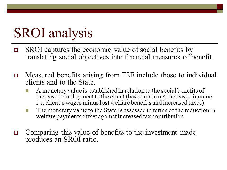 SROI analysis SROI captures the economic value of social benefits by translating social objectives into financial measures of benefit.