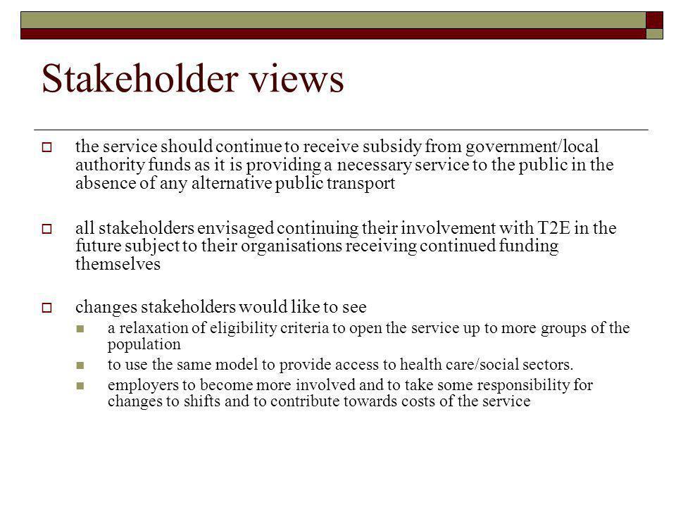 Stakeholder views