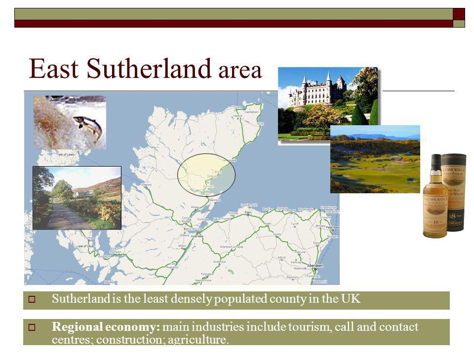 East Sutherland area Sutherland is the least densely populated county in the UK.