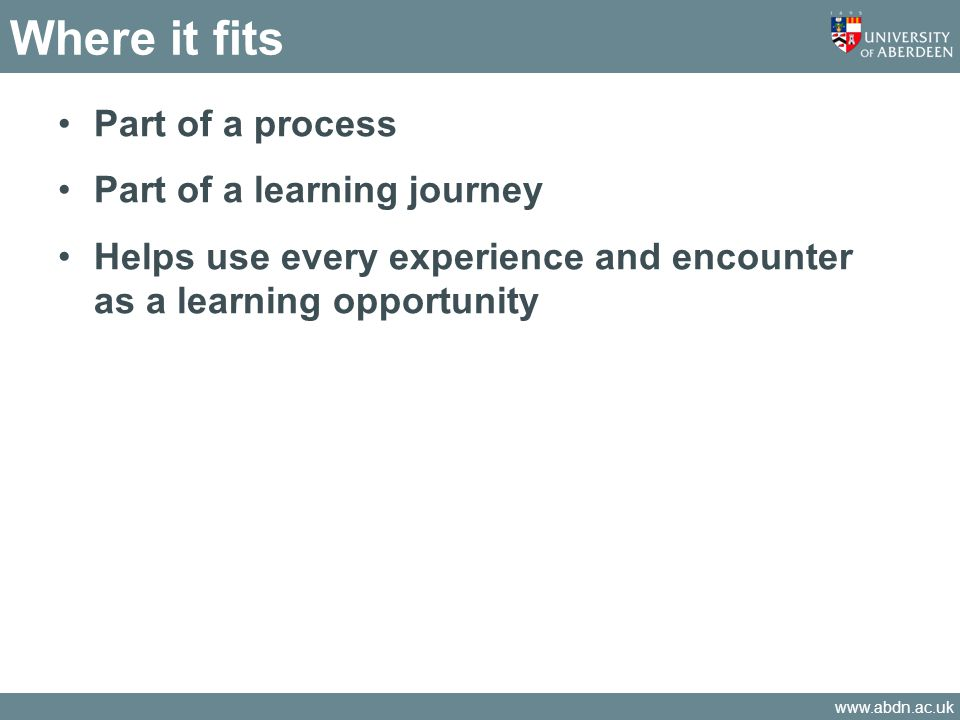 Where it fits Part of a process Part of a learning journey