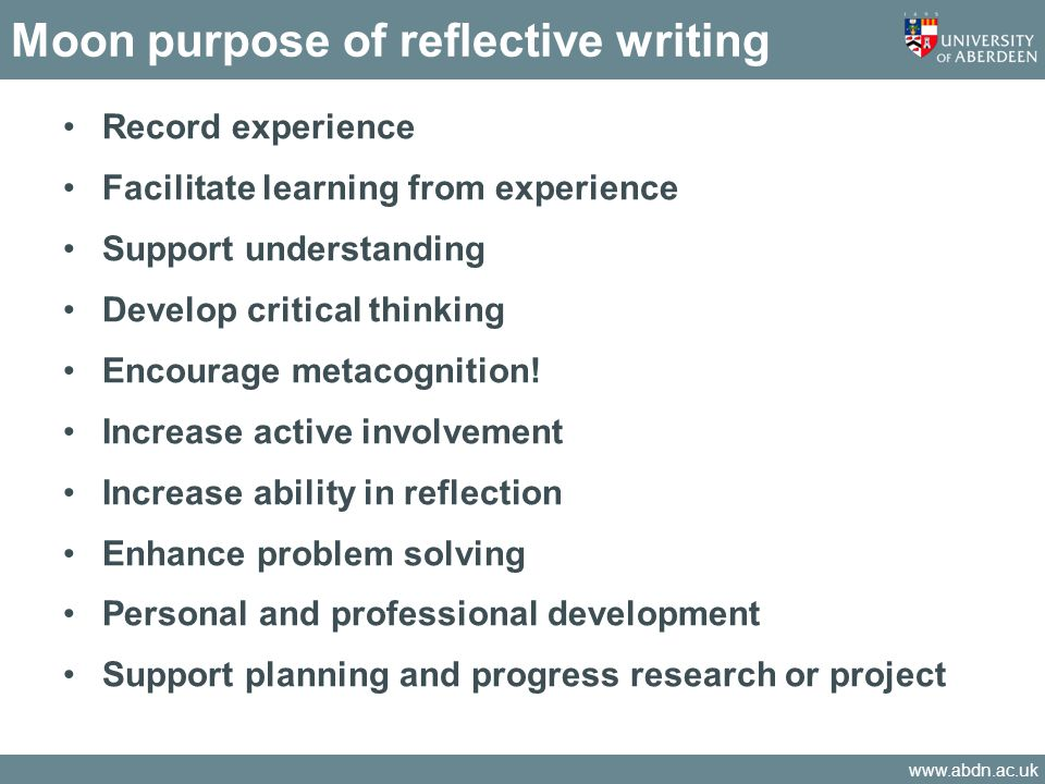 Moon purpose of reflective writing