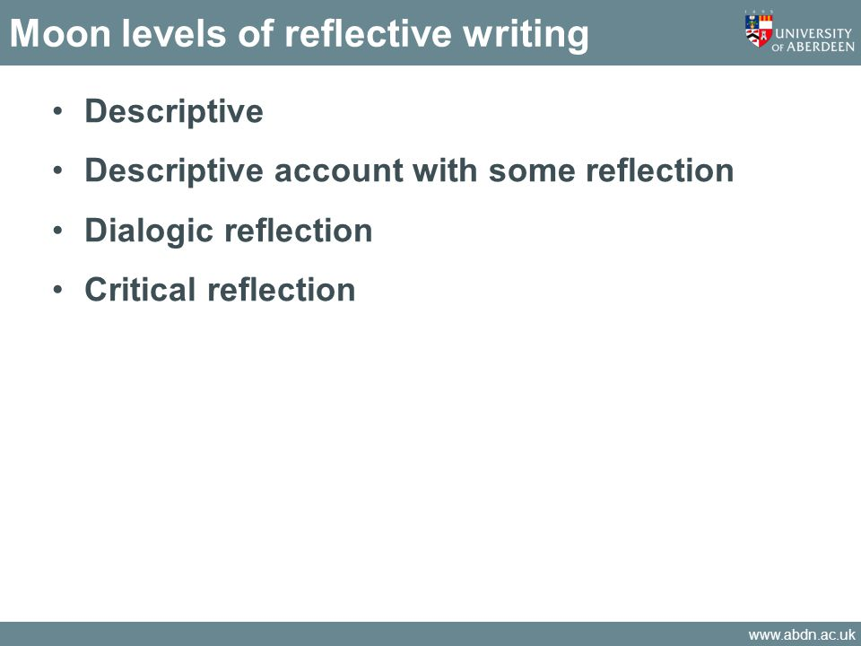 Moon levels of reflective writing