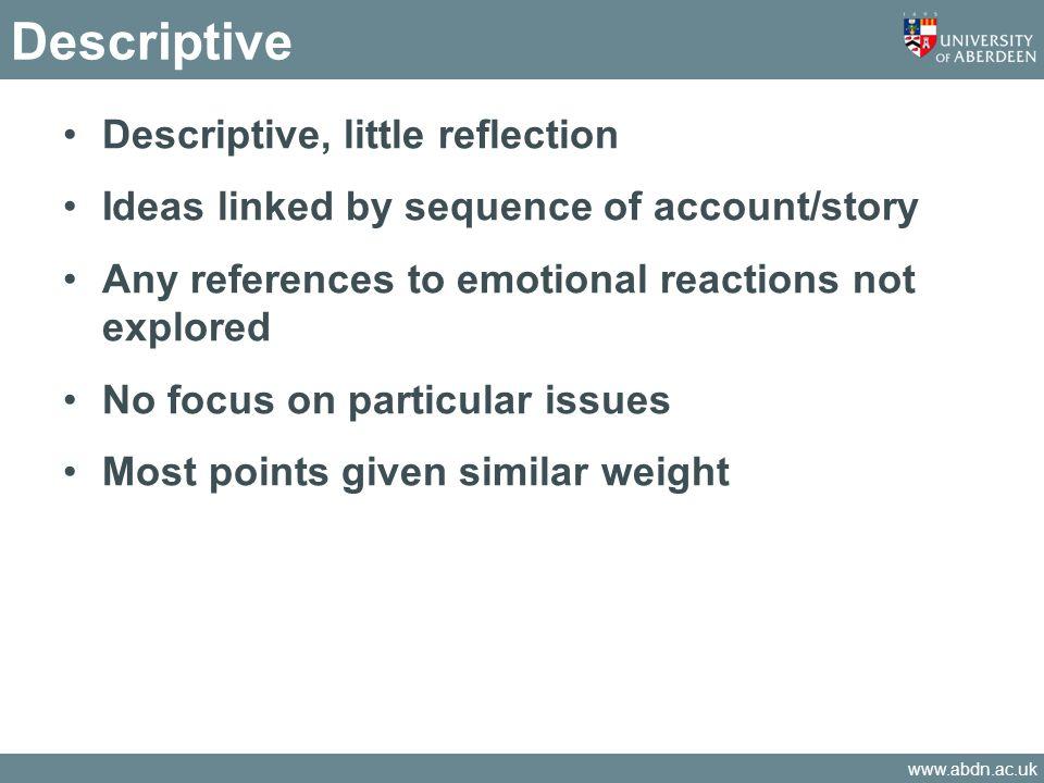 Descriptive Descriptive, little reflection