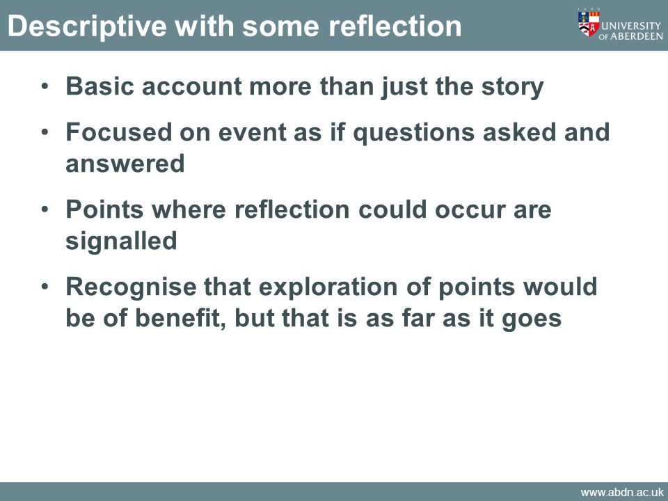 Descriptive with some reflection