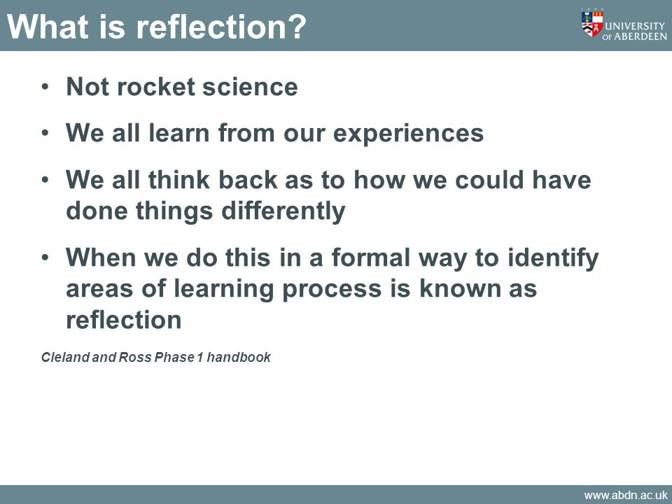 What is reflection Not rocket science