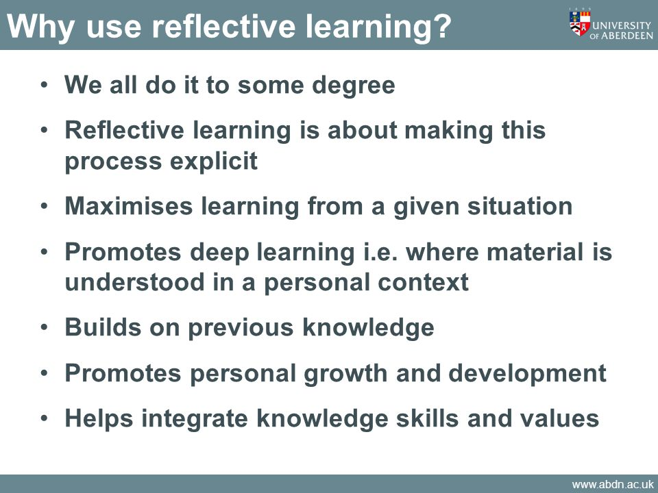 Why use reflective learning