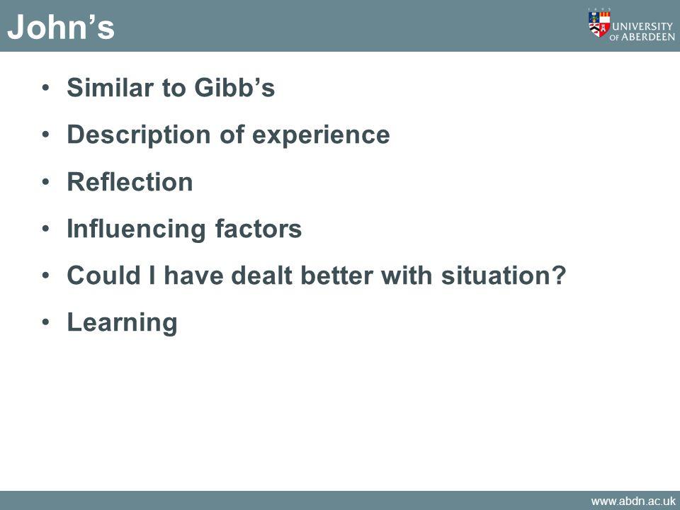 John's Similar to Gibb's Description of experience Reflection