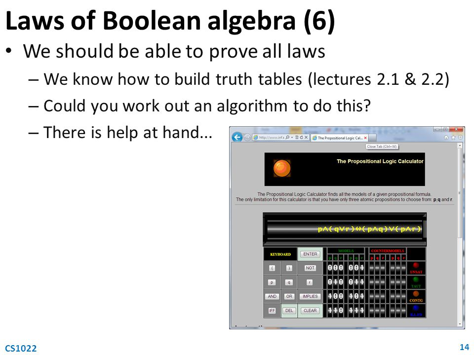 Laws of Boolean algebra (6)