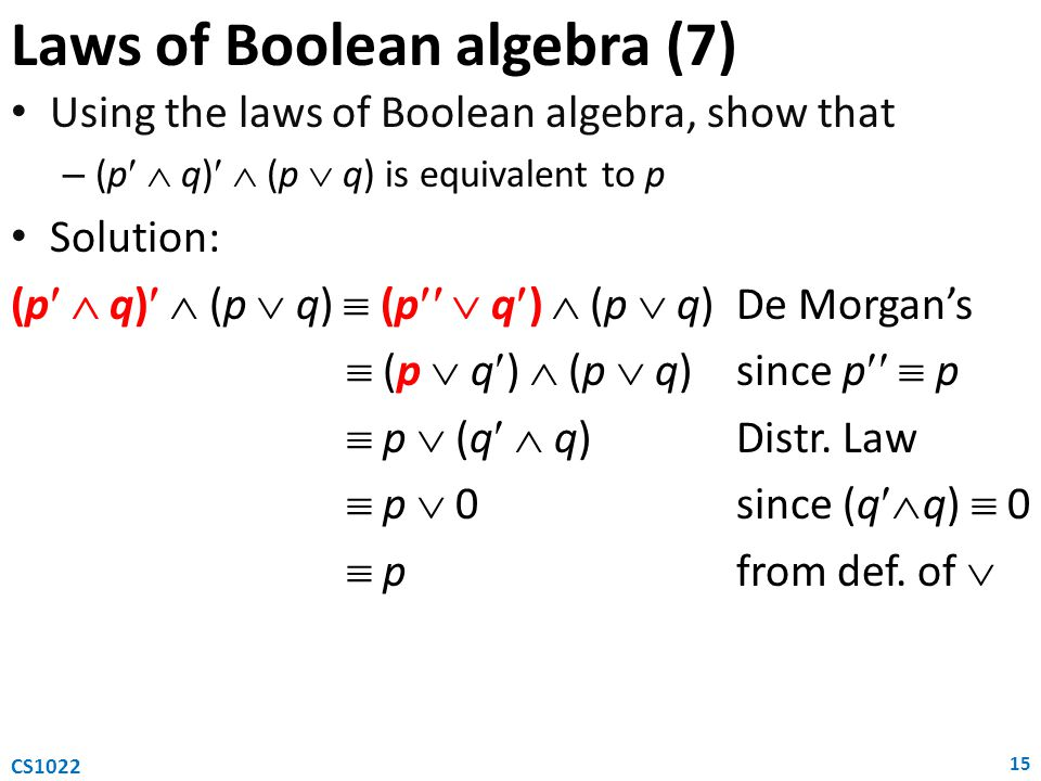Laws of Boolean algebra (7)