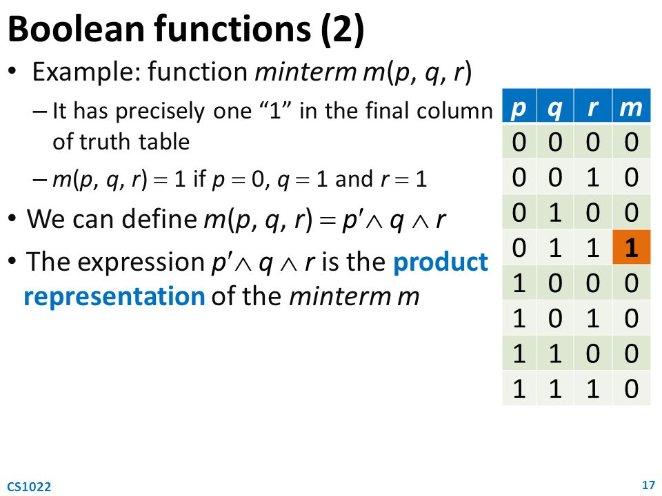 Boolean functions (2) Example: function minterm m(p, q, r)